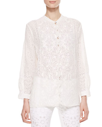 Roberto Cavalli Embroidered Silk Georgette Blouse, White