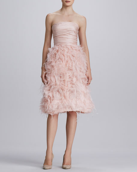 Strapless Organza Feather Dress
