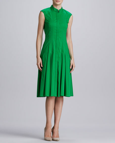 Pleated Stretch-Cotton Dress, Kelly Green
