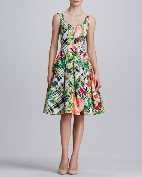 Floral Plaid A-Line Dress, Green/Multicolor