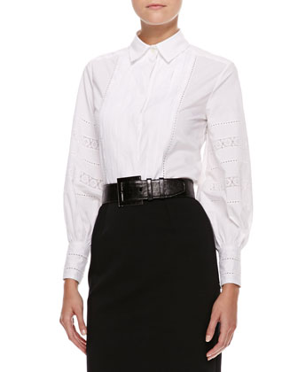 Oscar de la Renta Pleated-Bib Blouse, White