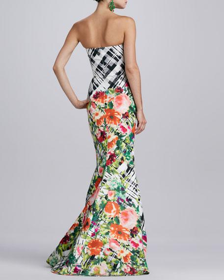 Floral Plaid Gown, Black/White/Multi