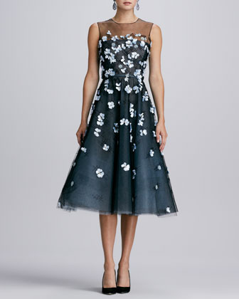 Yoked 3D Floral Dress, Black/Topaz