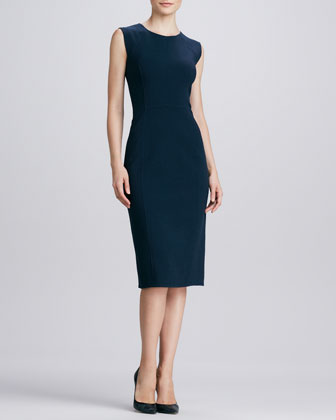 Sleeveless Knit Sheath Dress, Navy