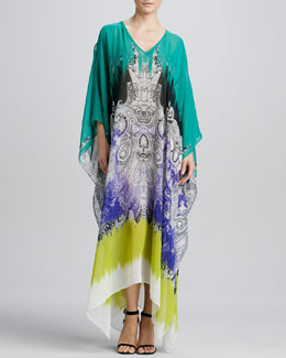 Etro Printed Silk Caftan, Teal/Multi