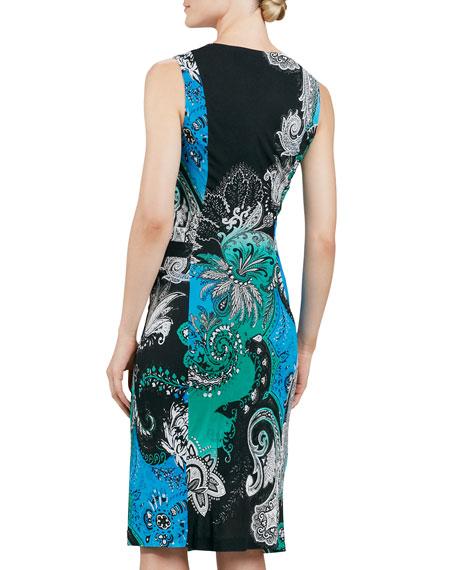 Sleeveless Paisley-Print Jersey Dress, Green/Multi