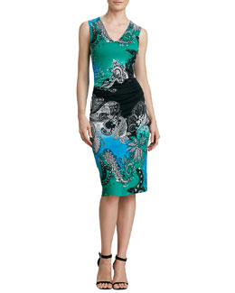 Etro Sleeveless Paisley-Print Jersey Dress, Green/Multi
