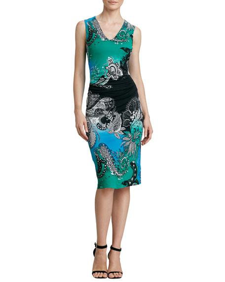 3e555b57ac03d Etro Sleeveless Paisley-Print Jersey Dress, Green/Multi