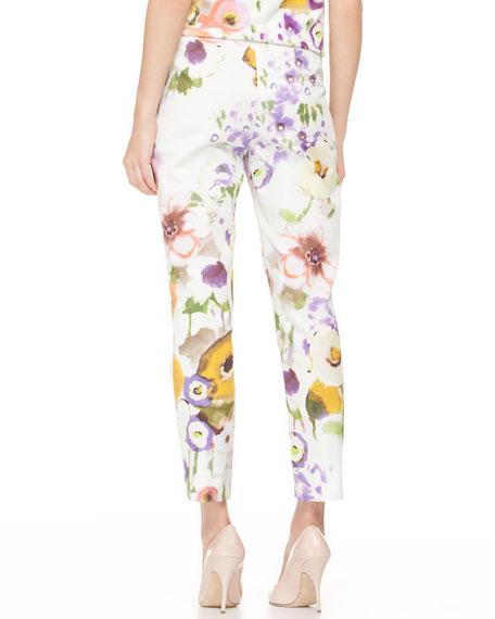 Slim Floral Ankle Pants