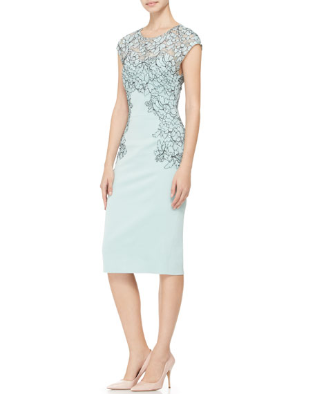Cap-Sleeve Placed-Lace Dress