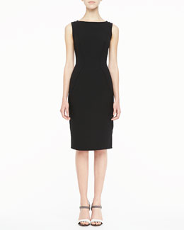 Lela Rose Sleeveless Boat-Neck Sheath Dress, Black