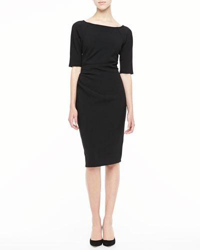 Half-Sleeve Ruched Sheath Dress, Black