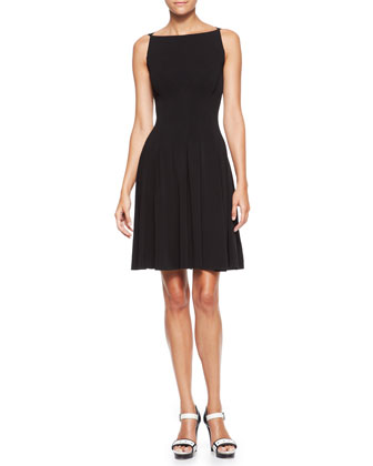 Boat-Neck Pleated Dress, Black