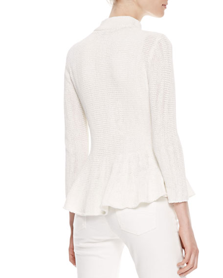 Zip-Front Knit Peplum Jacket, Off White