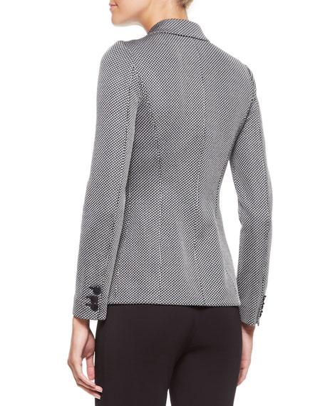 Three-Button Jersey Jacket, Black/White