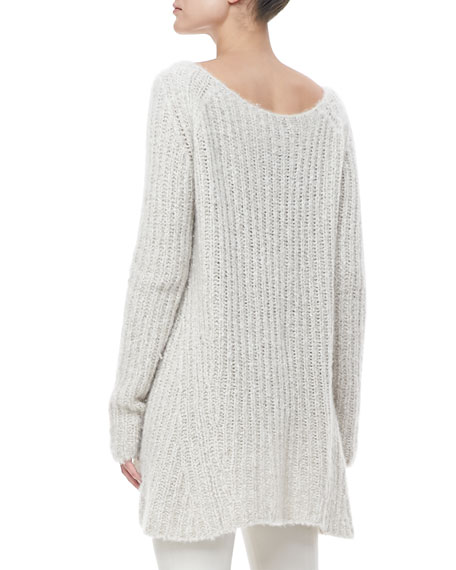 Wide-Neck Knit Silk-Cashmere Tunic Sweater