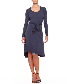 Donna Karan Tie-Front Trapeze Dress