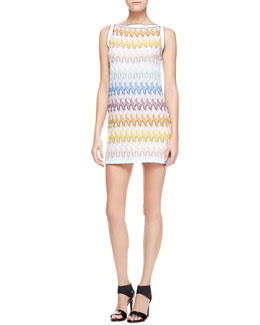 Missoni Above-Knee Zigzag-Knit Dress, Yellow/Aqua/White