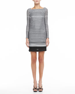 Missoni Long-Sleeve Combination Stitch Knit Dress, Black/White
