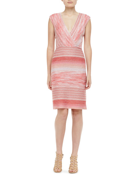 Knit Surplice Dress, Coral