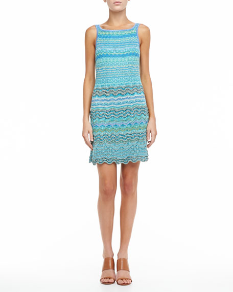 Scalloped Sleeveless Dress, Aquamarine