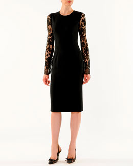 Dolce & Gabbana Lace-Sleeve Sheath Dress