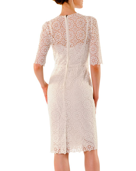 Half-Sleeve Macrame Sheath Dress