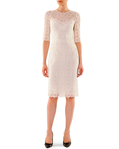 Half-Sleeve Macrame Sheath Dress