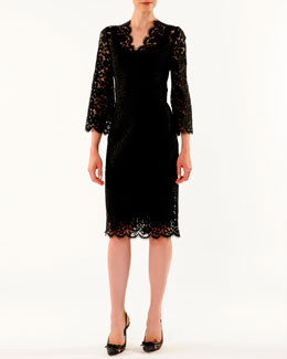 Dolce & Gabbana V-Neck Cordonetto Lace Dress