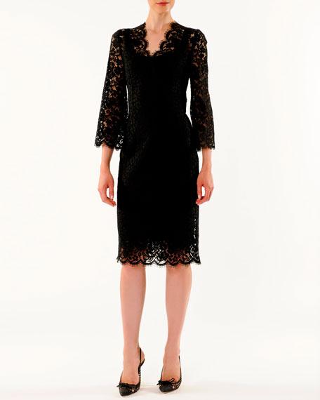 V-Neck Cordonetto Lace Dress