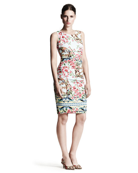 Bougainvillea Ruched Sheath Dress