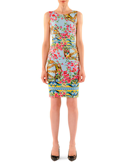 Bougainvillea Ruched Sheath Dress