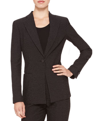 Dotted Single-Button Blazer