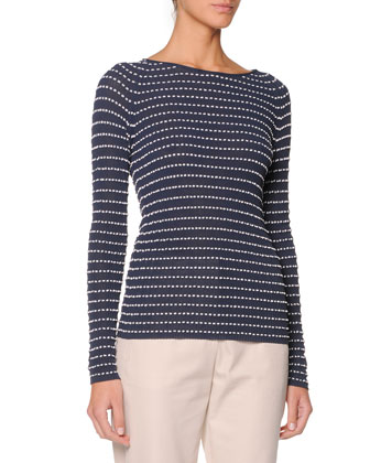 Long-Sleeve Textured Top