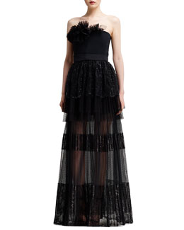 Chloe Strapless Tiered Lace Gown, Black
