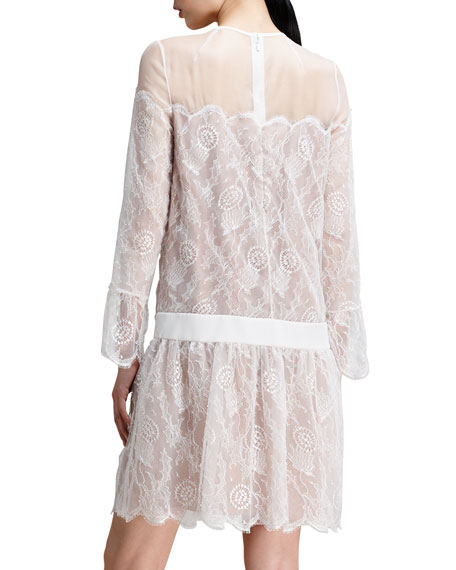 Drop-Waist Chantilly Lace Dress, White