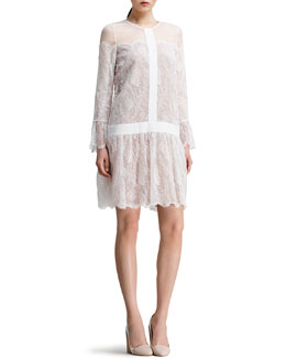 Chloe Drop-Waist Chantilly Lace Dress, White