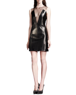 Saint Laurent Sheer-Inset Lambskin Leather Dress, Black