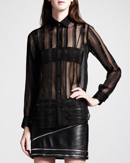 Saint Laurent Sheer Paneled Button-Up