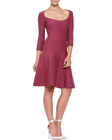 3/4-Sleeve Bubble-Knit Dress, Cherry