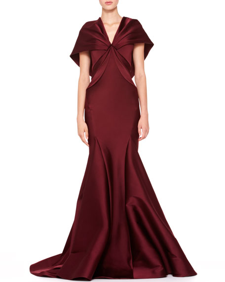 Stretch Duchesse Cape Gown, Bordeaux