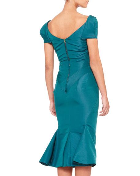 Short-Sleeve Silk Duchesse Dress, Teal