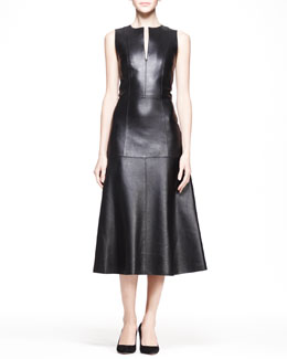 THE ROW Leather A-Line Midi Dress