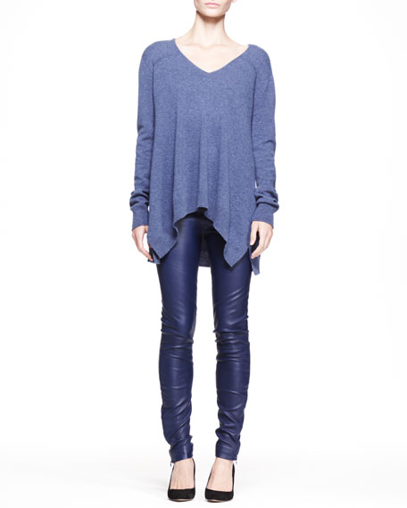 Stretch Leather Skinny Pants, Imperial Blue
