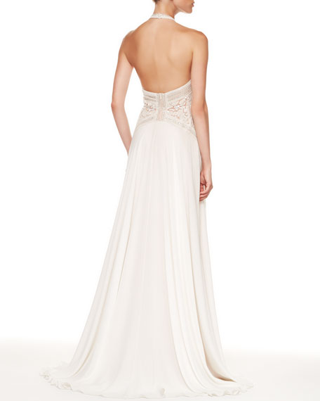 Beaded-Top Halter Gown