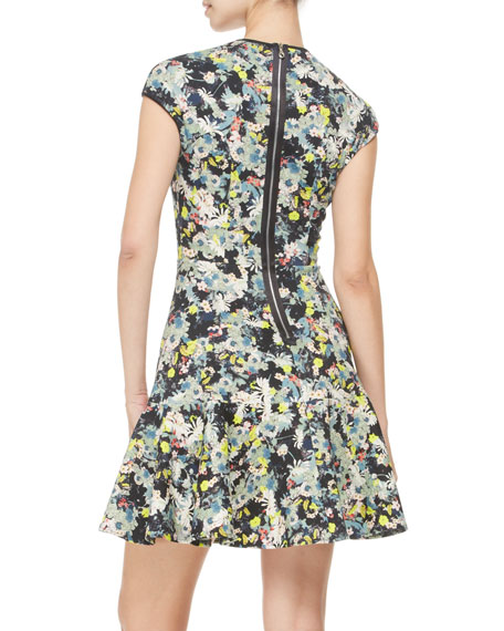 Daine Printed Cap-Sleeve Dress