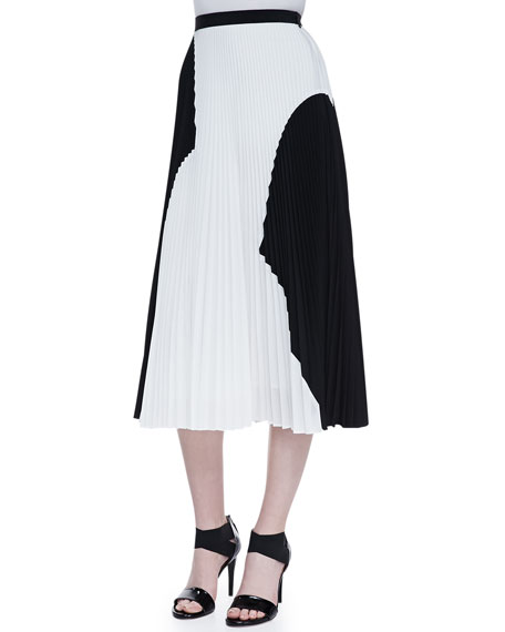 Two-Tone Pleated Midi Skirt