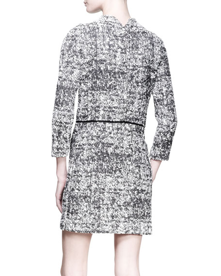 3/4-Sleeve Tweed Shift Dress