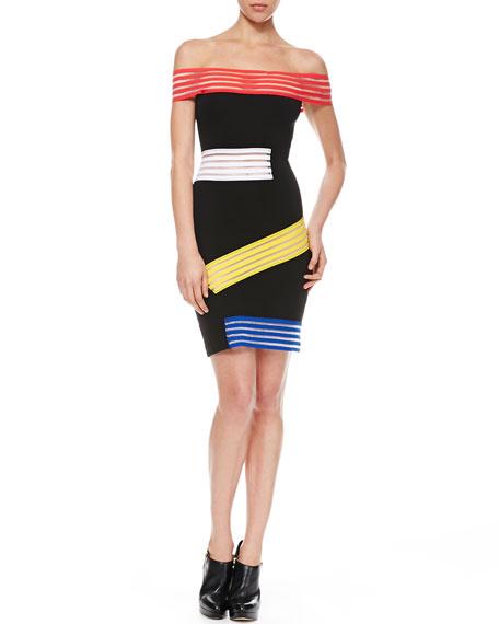 Elastic-Striped Off-the-Shoulder Dress, Black/Multi