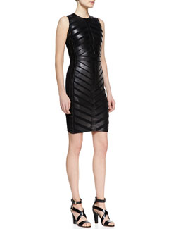 Ralph Lauren Black Label Sylviane Sleeveless Lambskin Dress